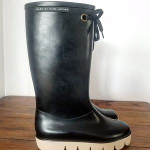 Black and Cream Marc Jacobs Snow and Rainboots 8